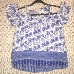 Blue and white blouse off he shoulder